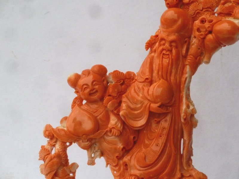 Large Chinese Carved Coral Group on carved wood base - 6