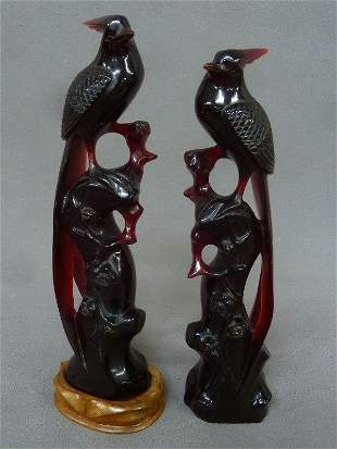 Pair of Chinese Cherry Amber Figures of Birds