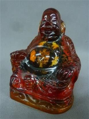 Chinese Cherry Amber Figure of Buddha