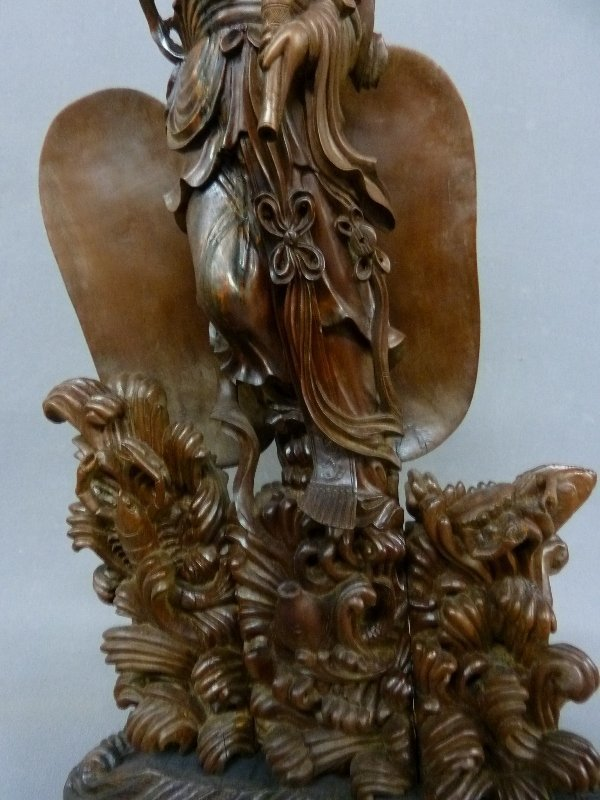 Circa 1900 Chinese Carved Wood Figure of Guanyin, - 3