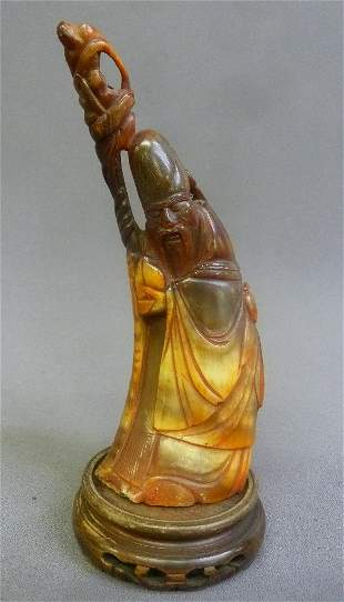 Hand Carved Bone Chinese Elder With Staff - height