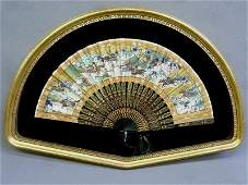 Chinese Hand Painted Fan in gold leaf shadow box frame