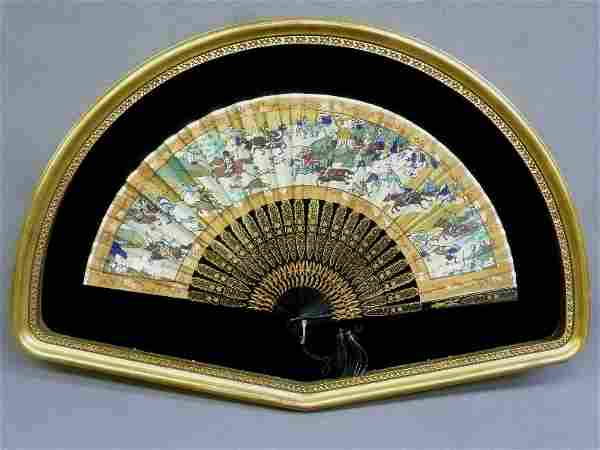 Chinese Hand Painted Fan in gold leaf shadow box frame.