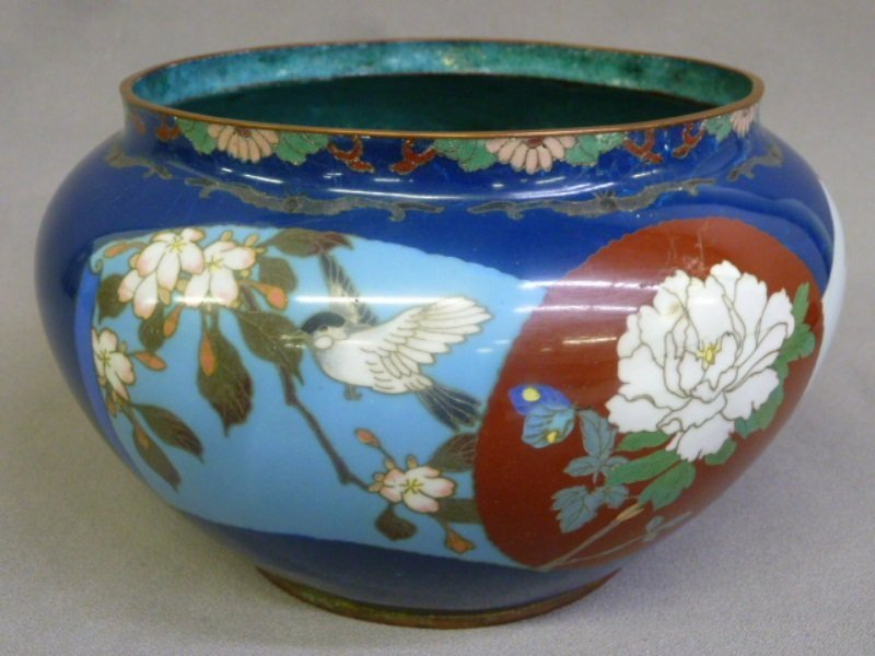 19th Century Cloisonne Planter with Birds and Flowers -