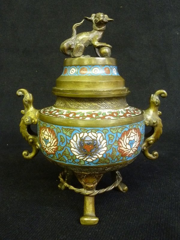 19th Century Bronze Signed Japan Champeve Sensor with
