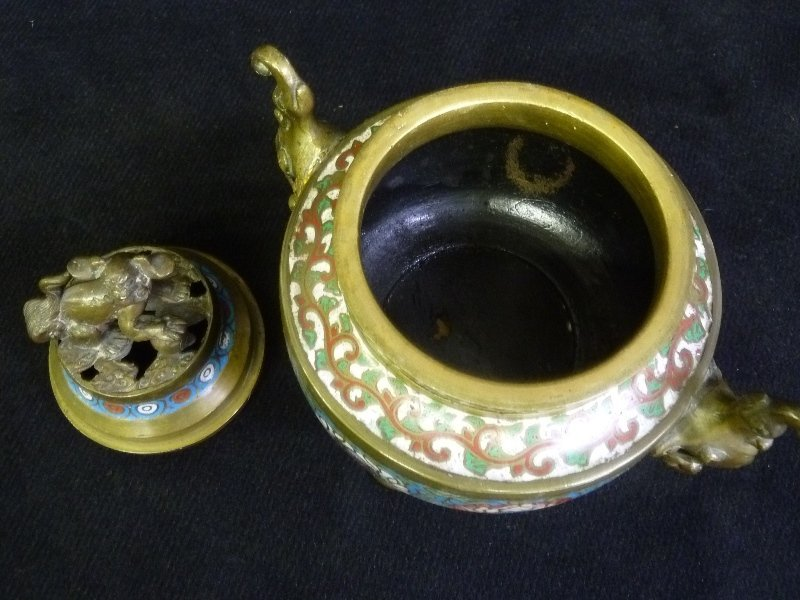 19th Century Bronze Signed Japan Champeve Sensor with - 3