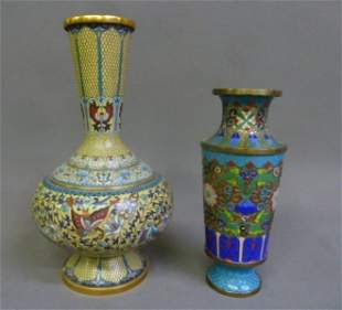 Two Quality Cloisonne Vases Early 20th Century - on the