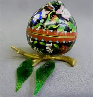 """Wonderful Cloisonne Covered Egg with Leaves - width 9"""""""