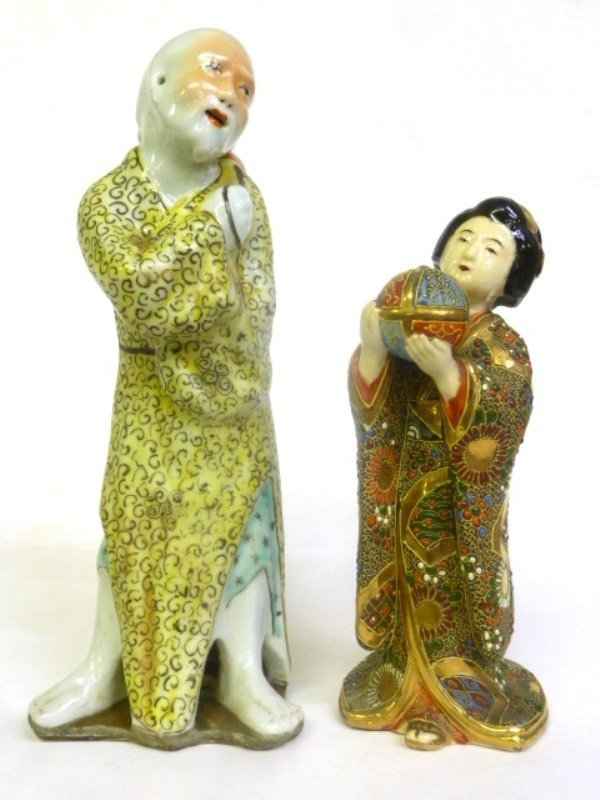 2 Asian C 1900 Porcelain Figures - one Signed China Man