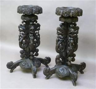 19th Century Pair of Asian Heavily Carved Planters with