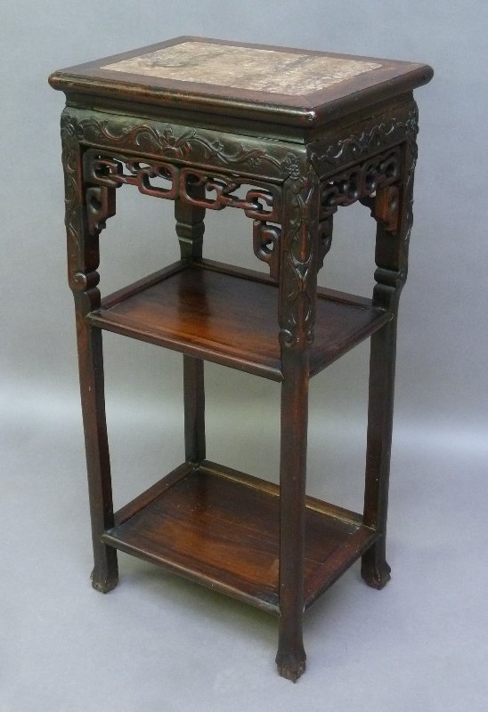 19th Century Chinese Rosewood Carved Marble Top Stand -