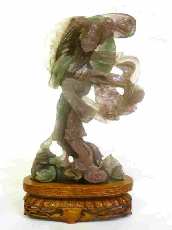 Carved Jade Chinese Woman in green and purple on carved