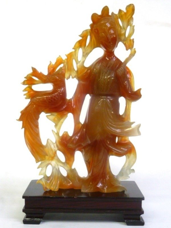 """Rust Color Carved Jade Figure of a Woman - height 6.25"""""""