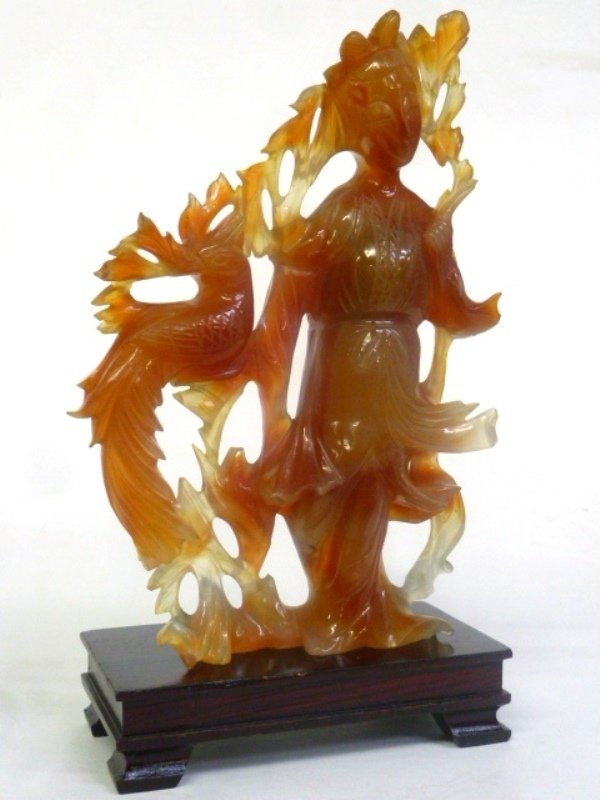 """Rust Color Carved Jade Figure of a Woman - height 6.25"""" - 3"""