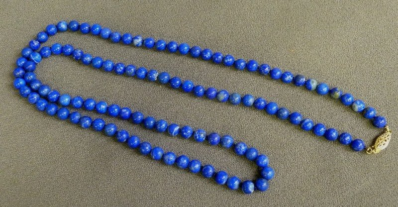 """14K Pure Gold Clasp with 28"""" Lapis Strand with 6mm"""