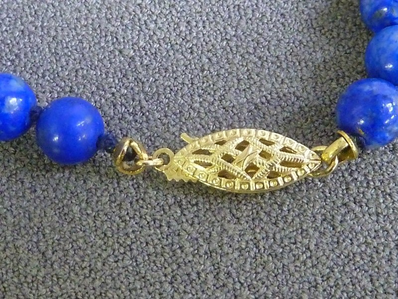"14K Pure Gold Clasp with 28"" Lapis Strand with 6mm - 2"
