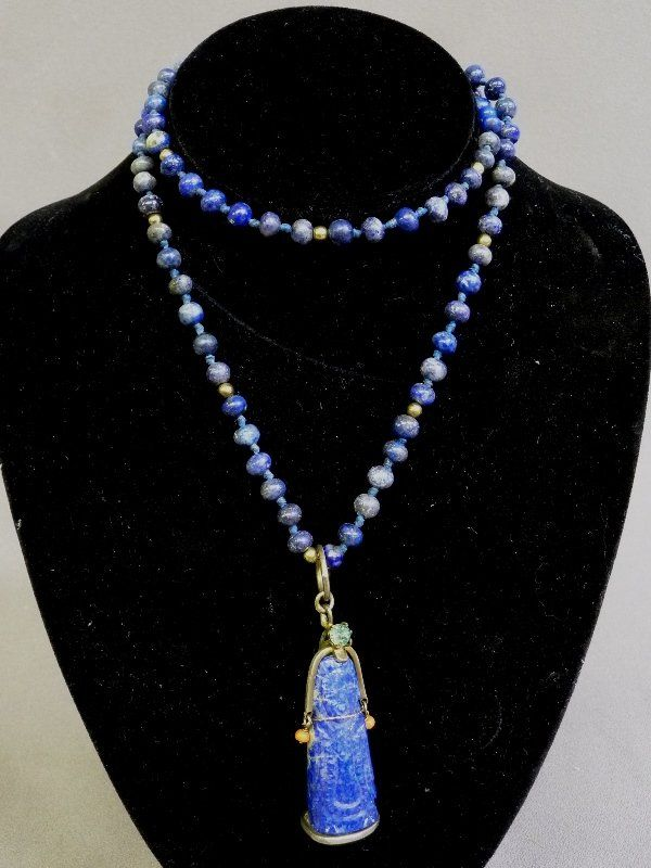 """26"""" Lapis stand with 7mm beads with a 1.75"""" (4.5cm)"""
