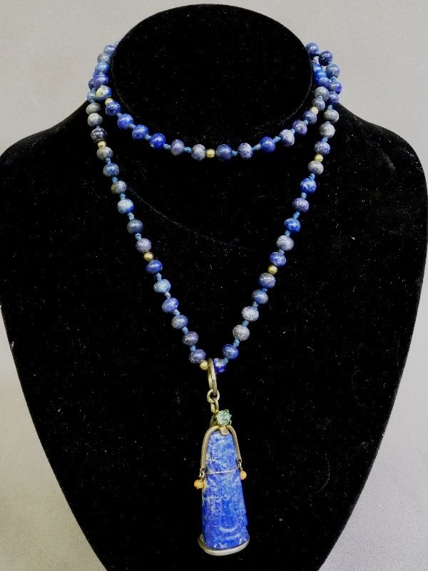 "26"" Lapis stand with 7mm beads with a 1.75"" (4.5cm)"