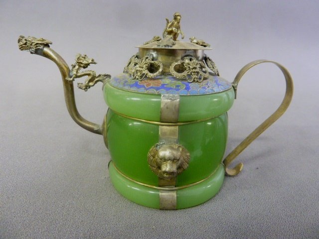 Chinese Jade Pitcher with Silver Monkey on the Top and