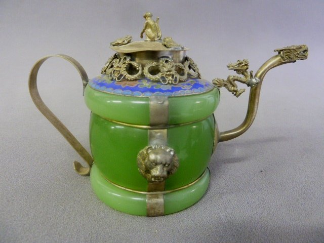 Chinese Jade Pitcher with Silver Monkey on the Top and - 2