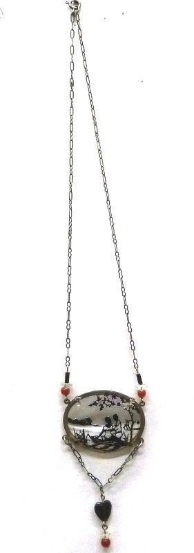 Marked Sterling Silver Lavaliere Silhouette etched - 2