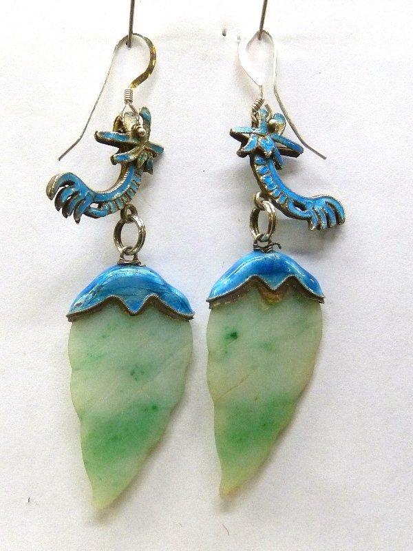 19th Century Antique Jadeite Jade Leaf design Enameled