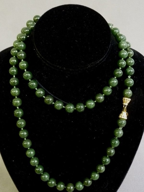"Marked 14k Solid Gold Clasp on 36"" 11mm Green Jade"