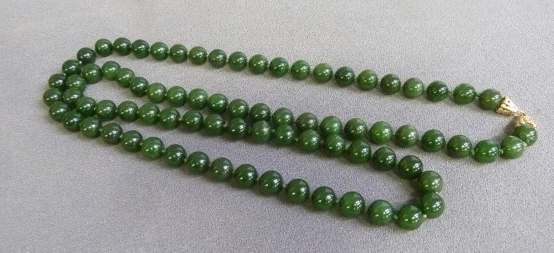 """Marked 14k Solid Gold Clasp on 36"""" 11mm Green Jade - 2"""