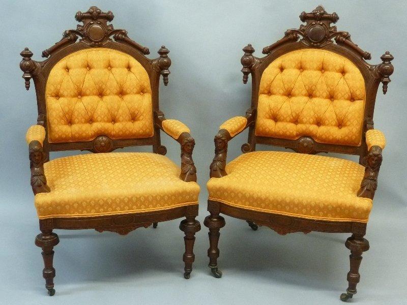 Superb Circa 1870's Walnut John Jelliff Arm Chairs