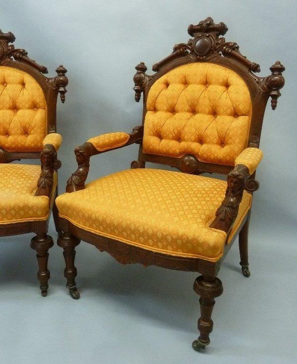 Superb Circa 1870's Walnut John Jelliff Arm Chairs - 2