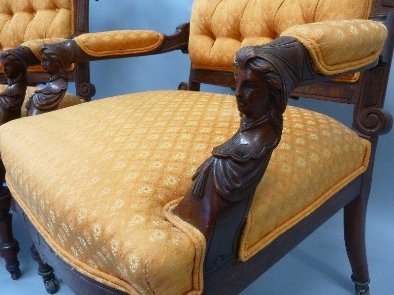 Superb Circa 1870's Walnut John Jelliff Arm Chairs - 3