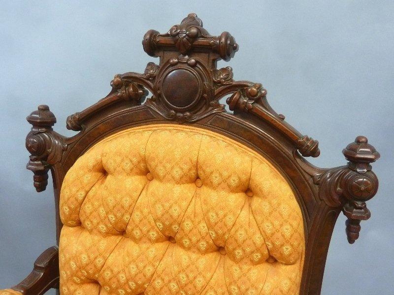 Superb Circa 1870's Walnut John Jelliff Arm Chairs - 4