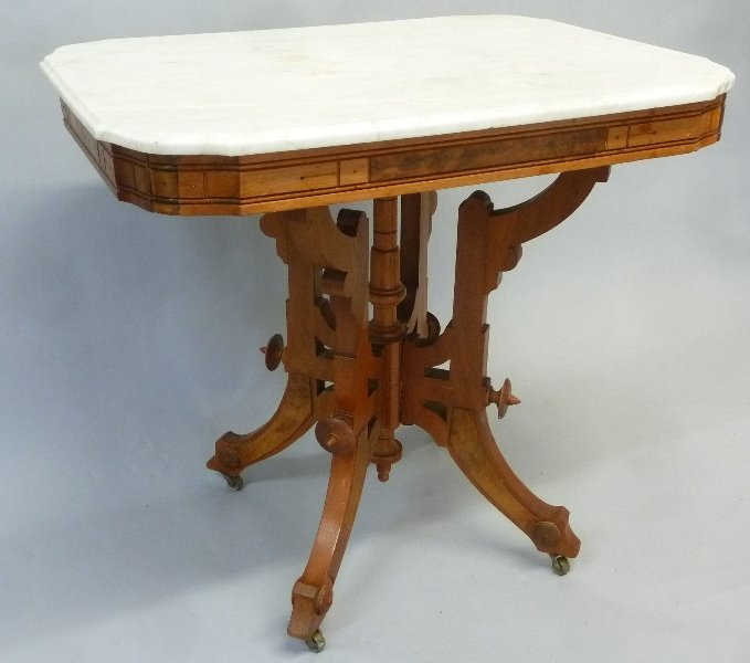 Circa 1870's Burl Walnut Marble Top Parlor Table in