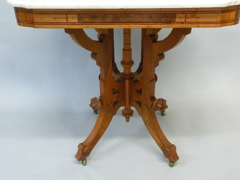 Circa 1870's Burl Walnut Marble Top Parlor Table in - 2