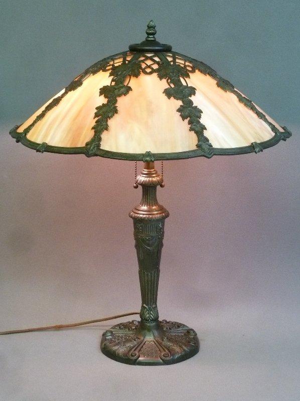 Circa 1920's 8 Panel Carmel Slag Glass Table Lamp with