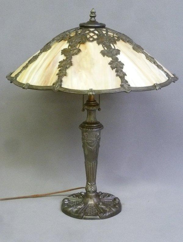 Circa 1920's 8 Panel Carmel Slag Glass Table Lamp with - 2