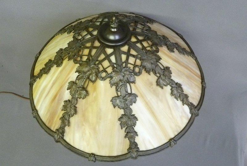 Circa 1920's 8 Panel Carmel Slag Glass Table Lamp with - 3
