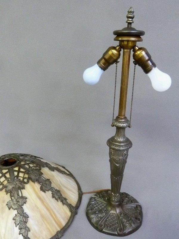 Circa 1920's 8 Panel Carmel Slag Glass Table Lamp with - 5