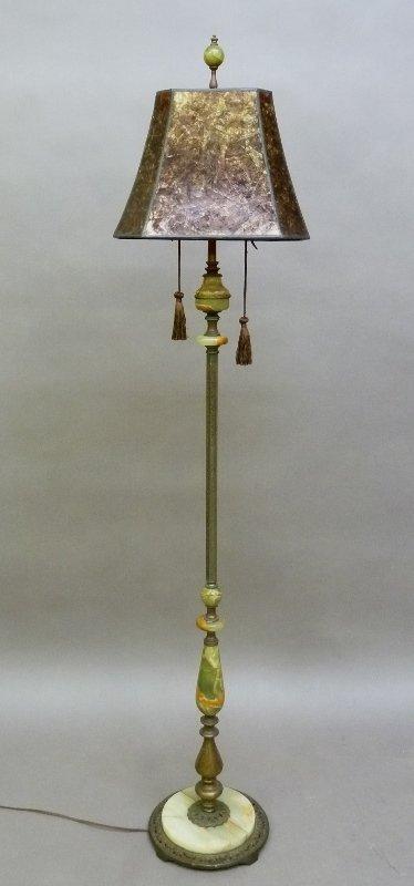 Circa 1920's Superb Quality Green Onyx  Stem Floor Lamp