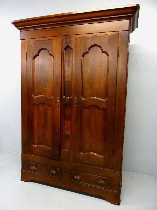 American Figured Walnut C 1860's Wardrobe with Carved