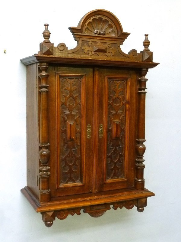 Circa 1880's Small Carved Walnut Wall Cabinet with