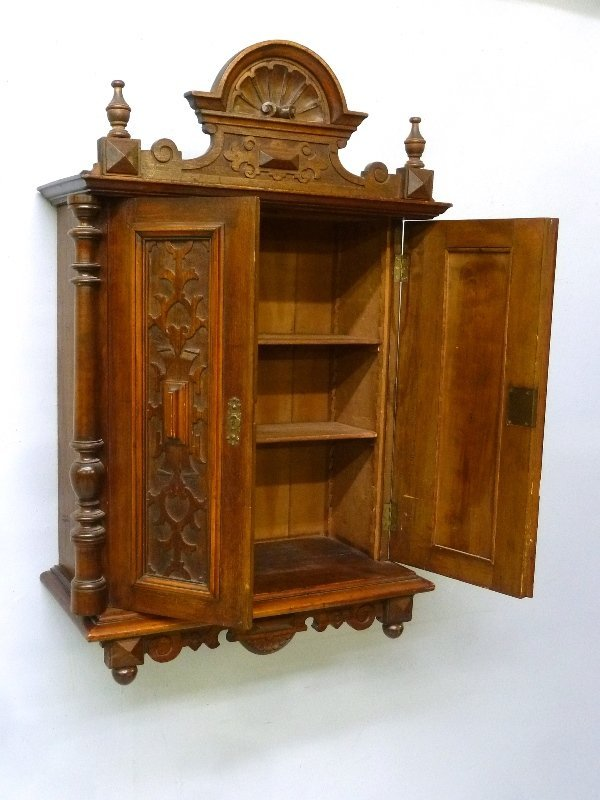 Circa 1880's Small Carved Walnut Wall Cabinet with - 2