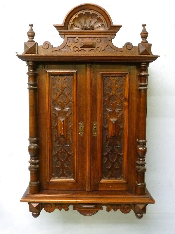 Circa 1880's Small Carved Walnut Wall Cabinet with - 3