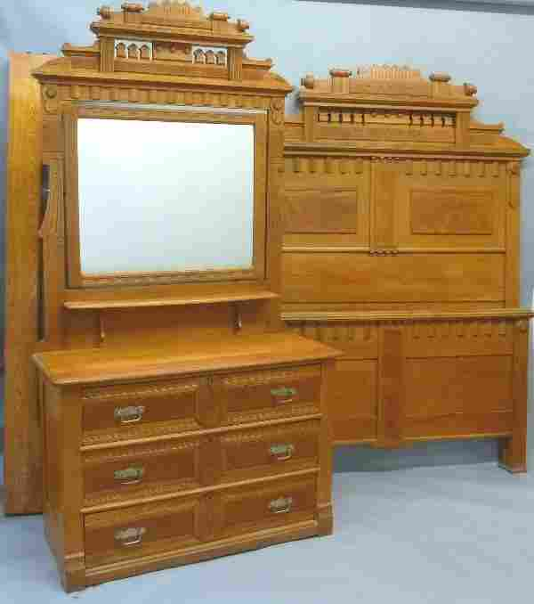 Wonderful American Circa 1880's 2 PC Oak Eastlake