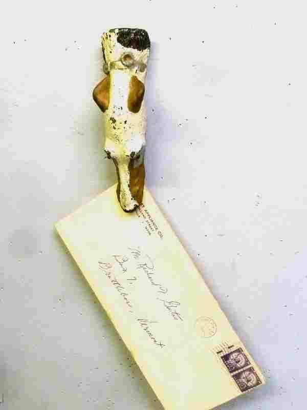 Unique C 1900 Cast Metal Dog Paper or Letter Holder.
