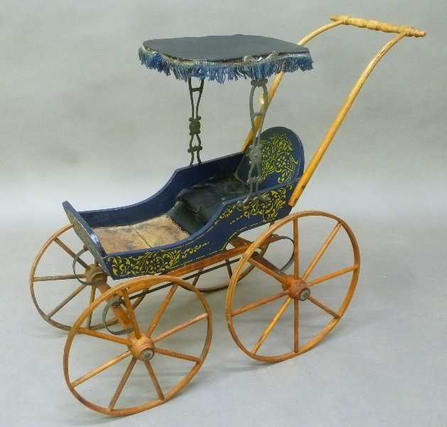 C 1880's Stenciled Doll Buggy signed G.H. Silsby & Son