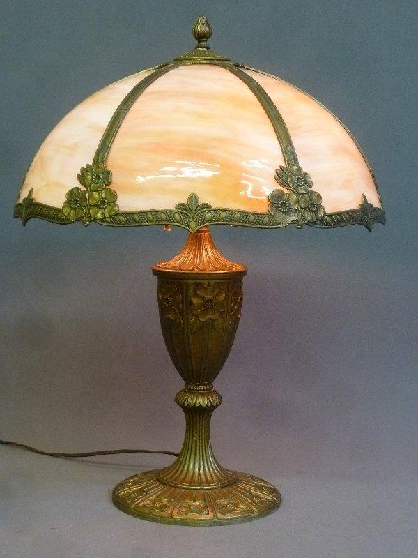 Circa 1920's Carmel Slag Glass Table Lamp with Flower