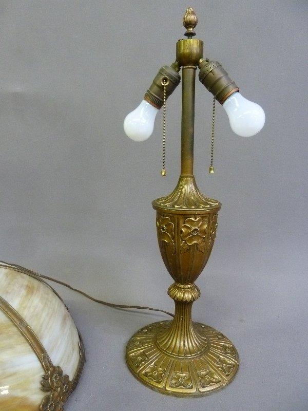 Circa 1920's Carmel Slag Glass Table Lamp with Flower - 2