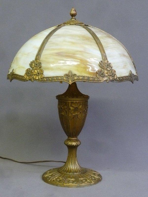 Circa 1920's Carmel Slag Glass Table Lamp with Flower - 3