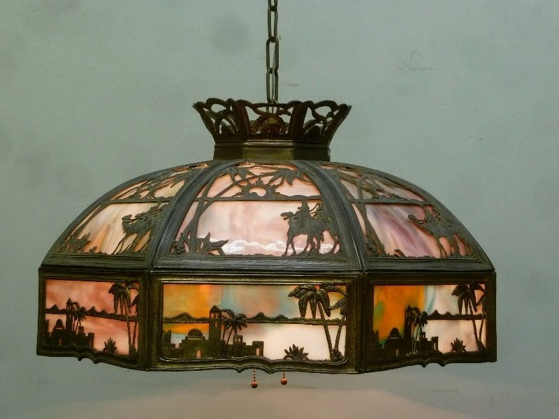 Circa 1920's Large 16 Panel Slag Glass Chandelier with